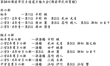 形の部幼年第1位平野楓小学1・2年生第1位平野柊第2位武田光生小学3・4年生第1位廣田麗第3位高崎稜人第3位瀬切ひまり小学5・6年生第2位廣田葵生組手の部幼年男女の部準優勝平野楓小学2年男子の部優勝武田光生第3位瀬切慎之助小学3年男子の部優勝田中楓磨小学3・4年女子の部第3位廣田麗第3位瀬切ひまり小学4年男子の部準優勝高崎稜人小学5・6年女子の部優勝小銭未来中学生男子の部優勝浜塚伊吹第3位浜塚響